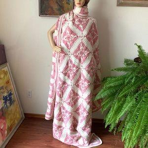 Hand Crochet soft rose white blanket